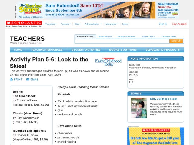 Look to the Skies Lesson Plan