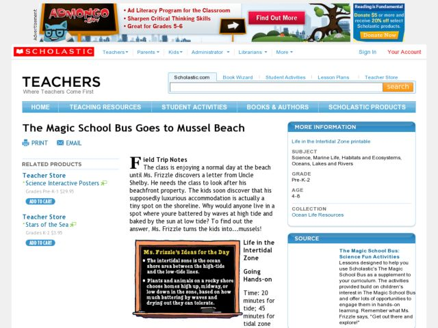 The Magic School Bus Goes to Mussel Beach Lesson Plan