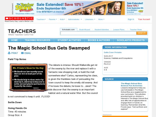 The Magic School Bus Gets Swamped Lesson Plan