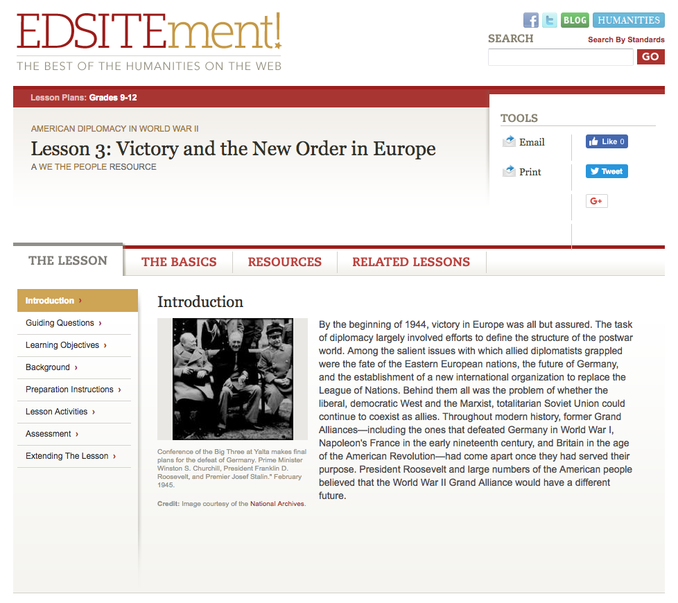 Victory and the New Order in Europe Lesson Plan