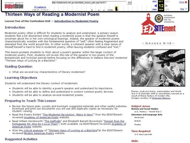 Thirteen Ways of Reading a Modernist Poem Lesson Plan