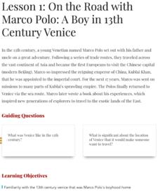 Marco Polo Lesson Plans & Worksheets | Lesson Planet