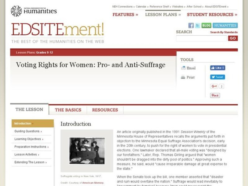 Voting Rights for Women: Pro- and Anti-Suffrage Lesson Plan