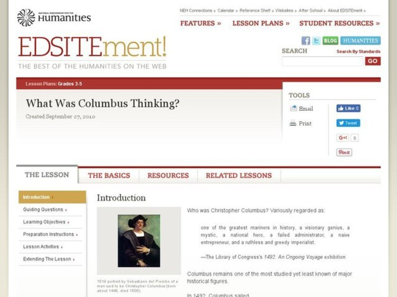What Was Columbus Thinking? Lesson Plan