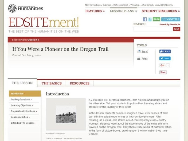 If You Were a Pioneer on the Oregon Trail Lesson Plan