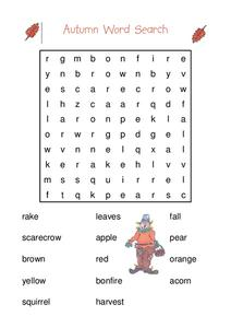 Autumn Word Search Worksheet