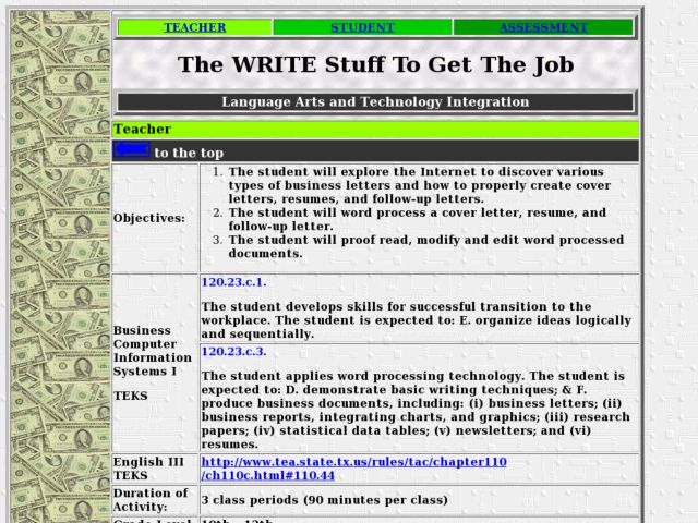 The Write Stuff to Get the Job Lesson Plan