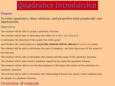 Quadratics Introduction Lesson Plan