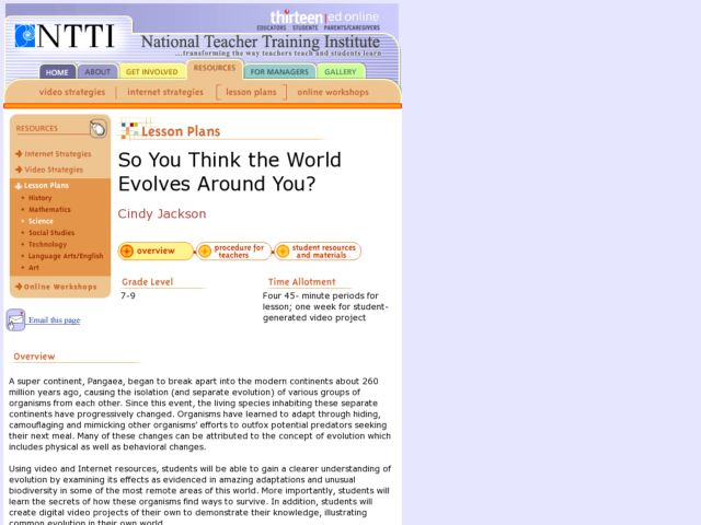 So You Think the World Evolves Around You? Lesson Plan