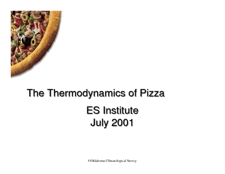 The Thermodynamics of Pizza Lesson Plan