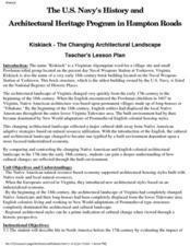 Kiskiack: Changing Architectural Landscape Lesson Plan