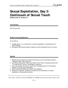 Sexual Exploitation, Day 3: Continuum of Sexual Touch Lesson Plan