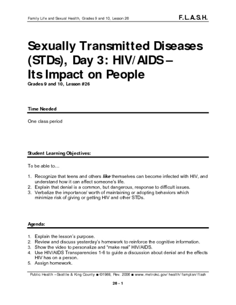 Sexually Transmitted Diseases (STDs), Day 3: HIV/AIDS - Its Impact on People Lesson Plan