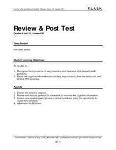 Review and Post Test (Sex Ed) Lesson Plan