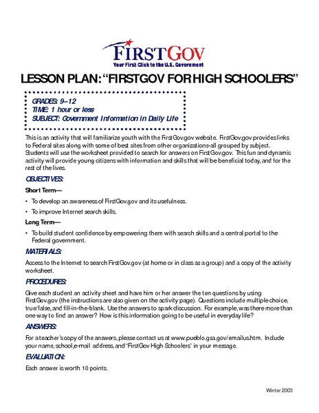 Firstgov for High Schoolers Lesson Plan