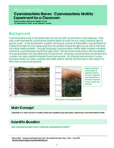 Cyanobacteria Races: Cyanobacteria Motility Experiment for a Classroom Lesson Plan