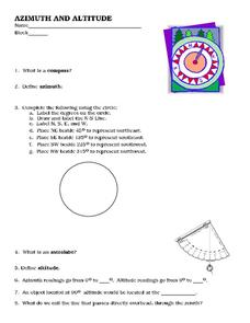 Azimuth and Altitude Worksheet