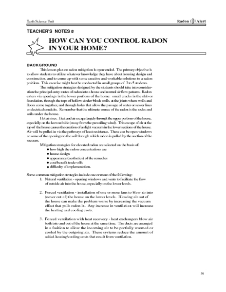 How Can You Control Radon In Your Home? Lesson Plan