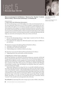 Memorable Singer 1929-1949 Lesson Plan