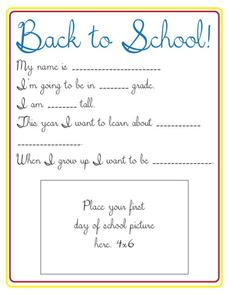 Back to School Printables & Template