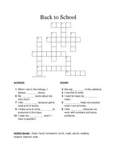 Back To School Crossword Lesson Plan