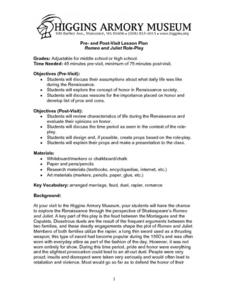 Romeo and juliet Role-Play Lesson Plan