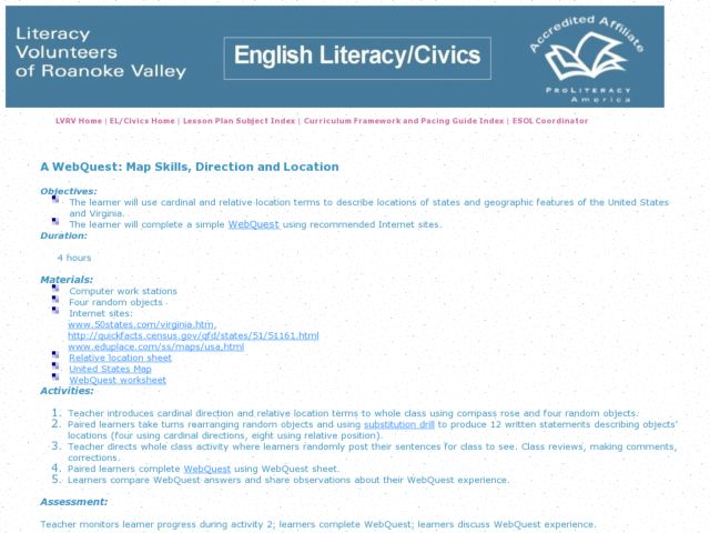 A WebQuest: Map Skills, Direction and Location Lesson Plan