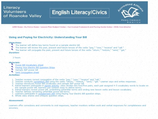 Using and Paying for Electricity: Understanding Your Bill Lesson Plan