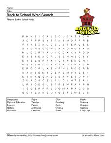 Back to School Word Search Worksheet