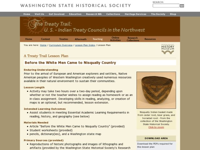 Before the White Men Came to Nisqually Country Lesson Plan