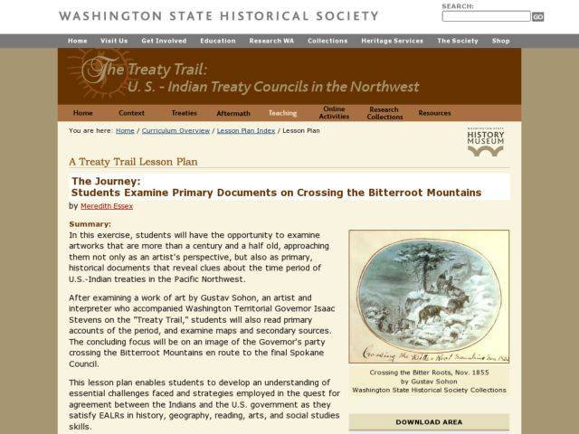 Treaty Trail: Crossing the Bitterroot Mountains Lesson Plan