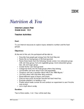 Nutrition & You Lesson Plan
