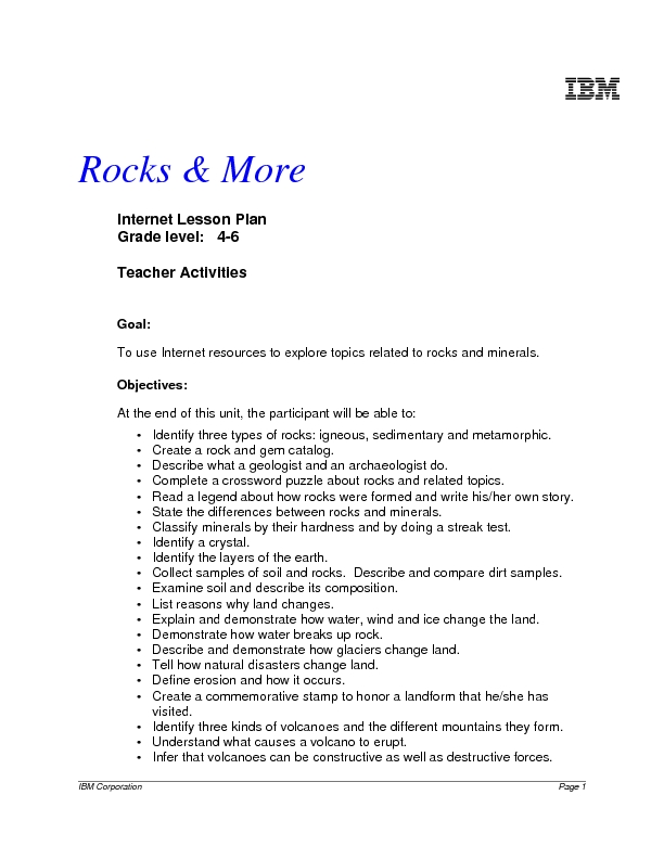 Rocks & More Lesson Plan