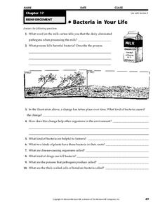 Bacteria in Your Life Worksheet