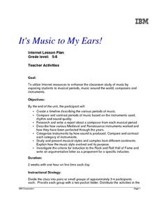 It's Music To My Ears! Lesson Plan