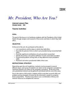 Mr. President, Who Are You? Lesson Plan