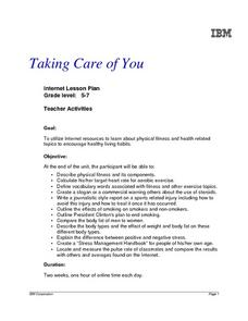 Taking Care of You Lesson Plan