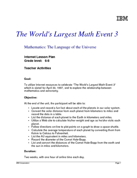 The World's Largest Math Event 3 Lesson Plan