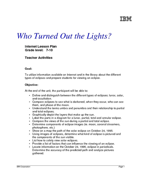 Who Turned Out the Lights? Lesson Plan