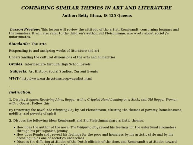Comparing Similar Themes in Art And Literature Lesson Plan