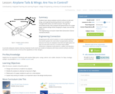 Airplane Tails and Wings: Are You in Control? Lesson Plan