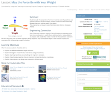 May the Force Be with You: Weight Lesson Plan