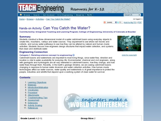 Can You Catch the Water? Lesson Plan