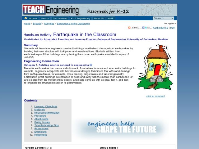 Earthquake in the Classroom Lesson Plan