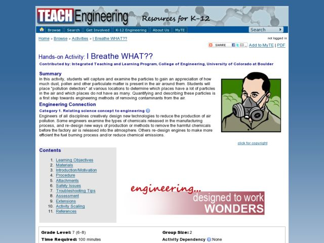 I Breathe What? Lesson Plan