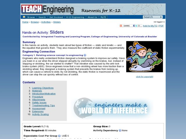 Sliders - Static and Kinetic Friction Lesson Plan