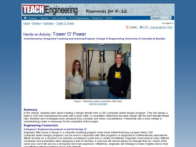 Tower O'Power Lesson Plan