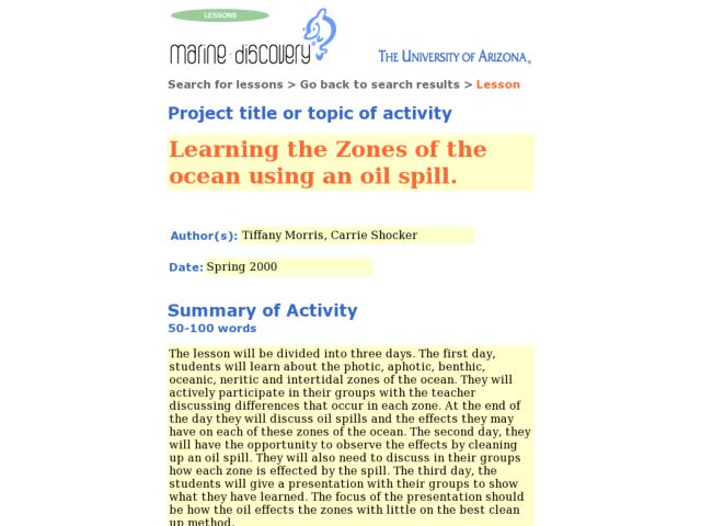 Learning the Zones of the Ocean Using an Oil Spill. Lesson Plan