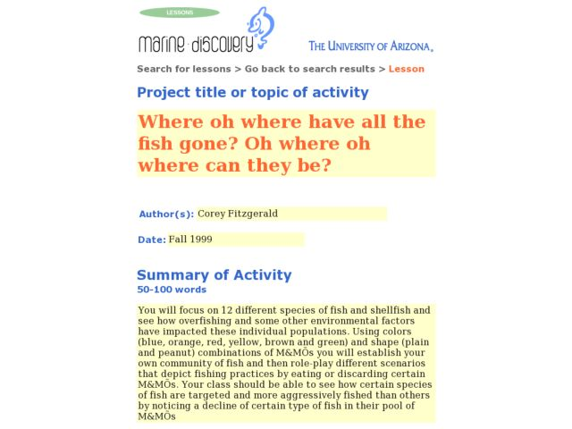 Where Oh Where Have All the Fish Gone? Oh Where Oh Where Can They Be? Lesson Plan