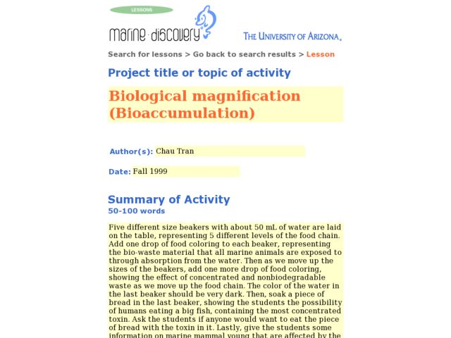 Biological Magnification (Bioaccumulation) Lesson Plan